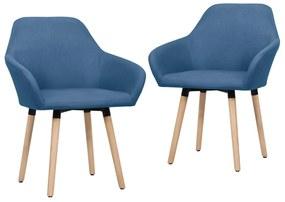 vidaXL Jedálenské stoličky 2 ks modré látkové