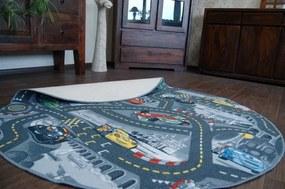 3kraft Detský guľatý koberec CARS sivý