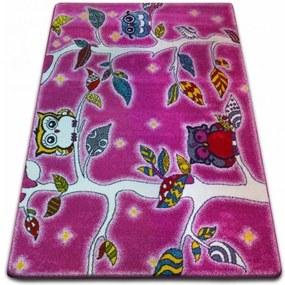 MAXMAX Detský koberec KIDS Sovičkový les - ružový
