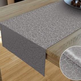 Goldea luxusný dekoračný behúň na stôl - vzor sivostrieborná perokresba 20x120 cm