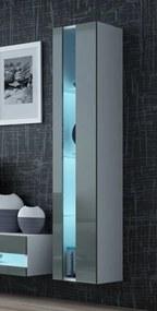 CAMA MEBLE Vigo New 180 vitrína na stenu biela / sivý lesk