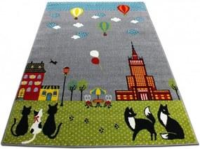 Detský koberec Mačky sivý, Velikosti 240x330cm