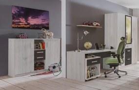 Písací stôl Cariba, bielený dub/lávová