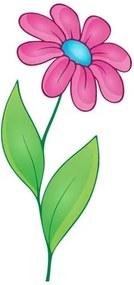 Nálepka na stenu pre deti Ružový kvet s modrým očkom 10x10cm NK4325A_1HP