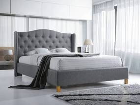Čalúnená posteľ ASPEN 180 x 200 cm sivá Matrac: Matrace Deluxe 15 cm