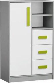 Komoda vysoká PIERE P05 sivá / biela / zelená Tempo Kondela
