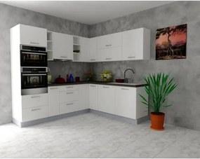 Sconto Rohová kuchynská zostava FACHMAN B14, 245x217 cm biela vysoký lesk