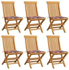 vidaXL Záhradné stoličky+červené kockované podložky 6 ks, tíkový masív