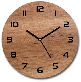 Sklenené hodiny okrúhle Drevené pozadie pl_zso_30_f_111507798