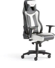 Herná stolička Lincoln, nastaviteľné opierky rúk, čierna/biela