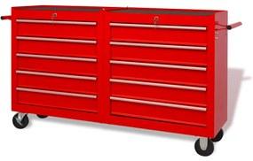 vidaXL Oceľový vozík na náradie s 10 zásuvkami, veľkosť XXL, červený