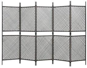 vidaXL 5-panelový paraván hnedý 300x200 cm polyratanový