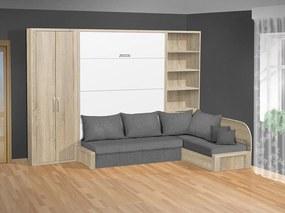 Nabytekmorava Sklápacia posteľ s rohovou pohovkou VS 3075P - 200x140 cm + policová skriňa 80 nosnost postele: štandardná nosnosť, farba lamina: dub sonoma/biele dvere, farba pohovky: nubuk 133 caramel