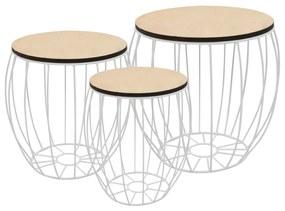 vidaXL Konferenčné stolíky 3 ks, topoľová preglejka, železo