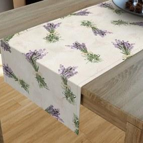 Goldea dekoračný behúň na stôl - vzor kytice levanduľou na béžovom 20x120 cm