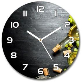 Sklenené hodiny okrúhle Biele víno a ovocie pl_zso_30_f_120971469