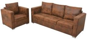 vidaXL 2-dielna súprava sedačiek, umelá semišová koža