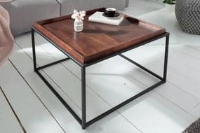 IIG -  Priemyselný konferenčný stolík ELEMENTS 60 cm odnímateľný podnos z bukového dreva Mocha