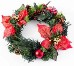 Umelý vianočný veniec POINSETTIE 30 cm