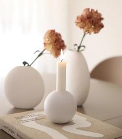 COOEE Design Drevený svietnik Ball White 10cm