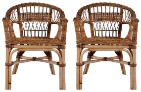 Vonkajšie stoličky z prírodného ratanu 2 ks hnedé