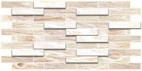 Obkladové 3D PVC panely TP10007977, rozmer 980 x 480 mm, obklad klasik bielený, GRACE