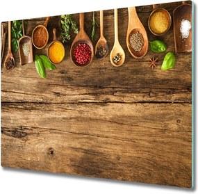 Sklenená doska na krájanie  Korenie z dreva