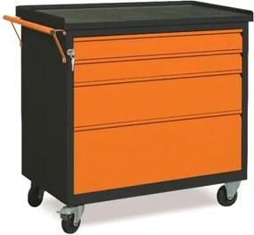 NABBI WW01G/2E dielenský vozík na kolieskach so zámkom grafit / oranžová