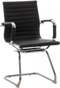 Konferenčná stolička s opierkami Martin, koža, hnedá