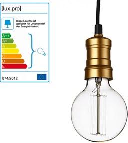 [lux.pro]® Dekoratívna dizajnová design závesná lampa HT168062 - čierna / meď (1 x E27)