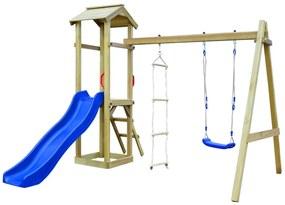 Detské ihrisko so šmýkačkou, rebríkom a hojdačkou 242x237x218cm FSC drevo