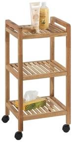 Pojazdný kúpeľňový regál z orechového dreva s 2 policami Wenko Norway