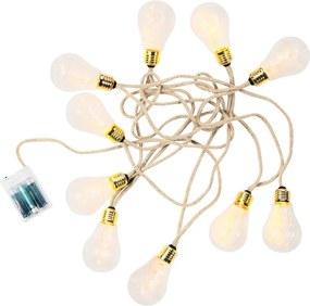 Butlers BULB LIGHTS Svetelná reťaz žiarovky 10 svetiel - prírodná