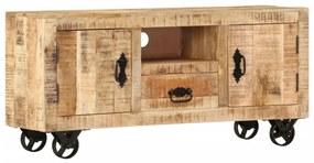 vidaXL TV stolík zo surového mangovníkového dreva, 120x30x50 cm