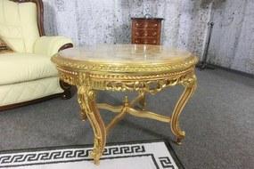 (2848) MARBLE CASTELLO zámocký zlatý stolík s mramorom