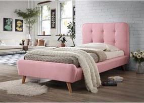 Čalúnená posteľ TIFFANY 90x200 cm ružová Matrac: s matracom PREMIUM 23 cm