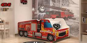 Postele pre chlapcov Lorry Požiarne auto 140x70 č.1