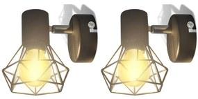 vidaXL 2 čierne svietidlá - LED žiarovky, drôtené tienidlo, industriálny štýl
