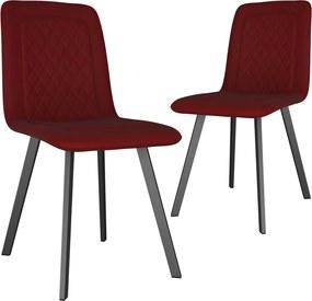 vidaXL Jedálenské stoličky 2 ks, červené, zamat