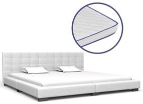 vidaXL Posteľ s matracom, pamäťová pena, biela, umelá koža 180x200 cm
