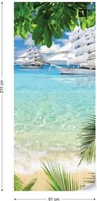 GLIX Fototapeta na dvere - Tropical Beach Paradise Island