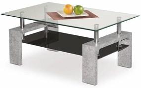 HALMAR Diana Intro sklenený konferenčný stolík betón / priehľadná / čierna