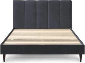 Tmavosivá zamatová dvojlôžková posteľ Bobochic Paris Vivara Dark, 160 x 200 cm
