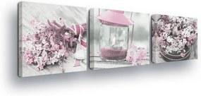 GLIX Obraz na plátne - Vintage Light Pink Decorations 3 x 25x25 cm