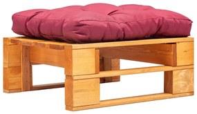 vidaXL Záhradná taburetka z paliet, červená podložka, hnedá, drevo