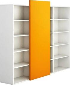 PLAN Skriňa vysoká otvorená dlhá BLOCK white, oranžová