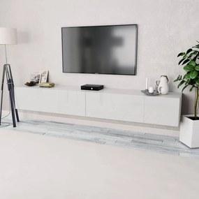 vidaXL Skrinky pod TV, 2ks, drevotrieska, 120x40x34 cm, vysoký lesk, biele