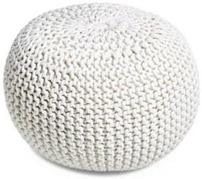 PUF pletený white