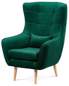 kreslo s vankúšom, zelená látka, nohy masív buk