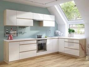 Rohová kuchyňa Line pravý roh 320x180 cm biela lesklá/dub sonoma